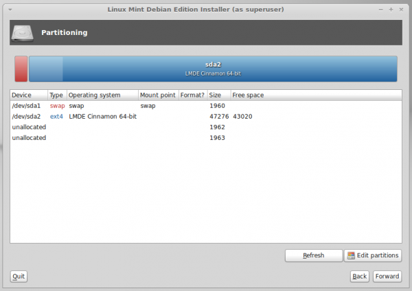 LMDE manual disk partition