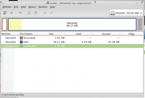 Linux Mint Debian (LMDE) GParted