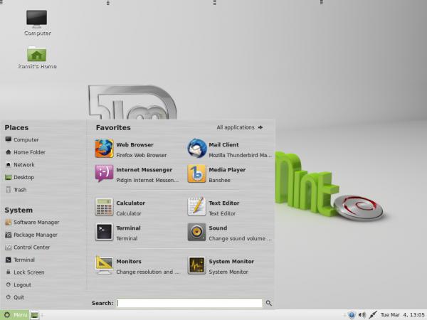 Linux Mint Debian (LMDE) MATE mintMenu