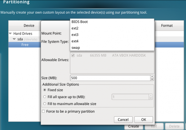 Linpus Lite 2.1 installer filesystems