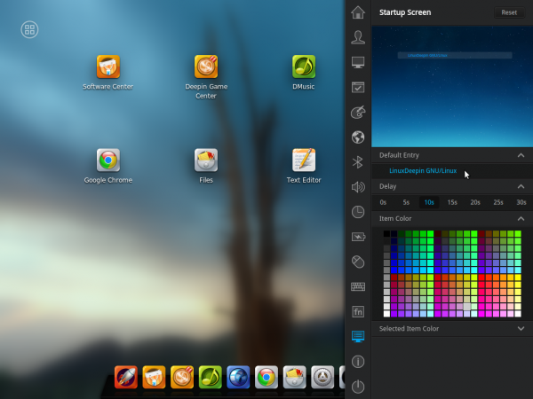 Linux Deepin 2014 settings