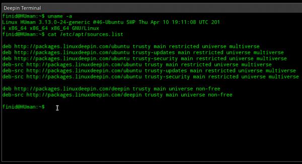 Linux Deepin 2014 terminal