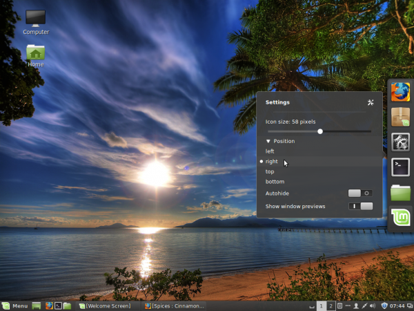 Linux Mint 17 Cinnamon Dock