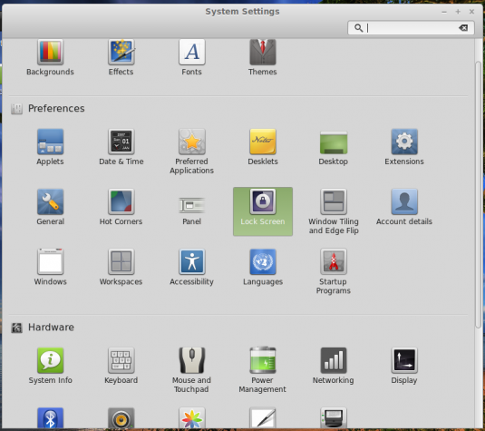 Linux Mint 17 Cinnamon Settings