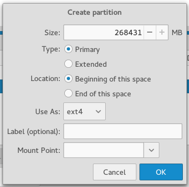 Antergos Cnchi partition editor