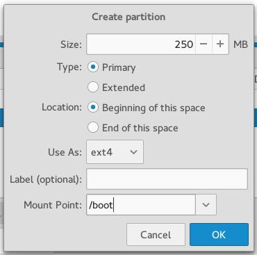 Antergos Cnchi create boot partition