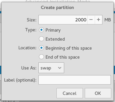 Antergos Cnchi create swap partition