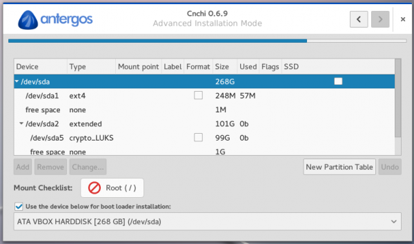 Antergos Cnchi manual partition