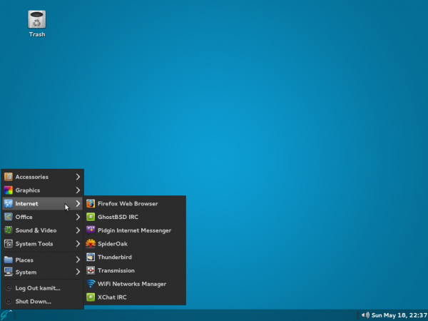 GhostBSD 4.0 desktop MATE menu