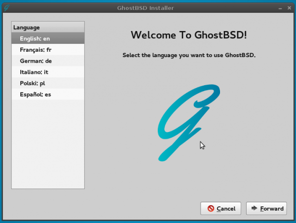 GhostBSD 4.0 installer languages