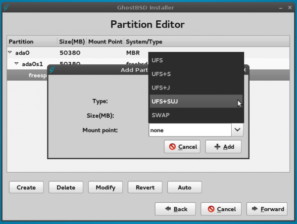 GhostBSD 4.0 installer partitions