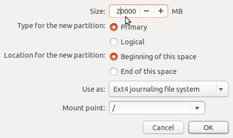 Ubuntu 14.04 create root partition