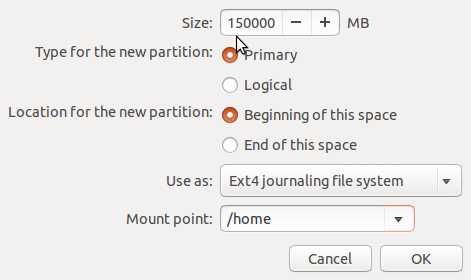 Ubuntu 14.04 create home partition