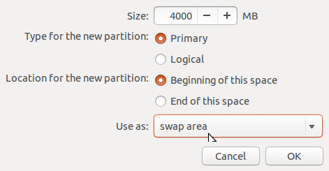 Ubuntu 14.04 create swap partition