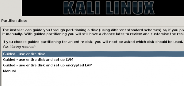 Kali Linux 1.0.7 boot partition