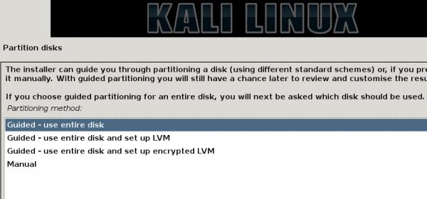 Kali Linux 1.0.7 boot partition
