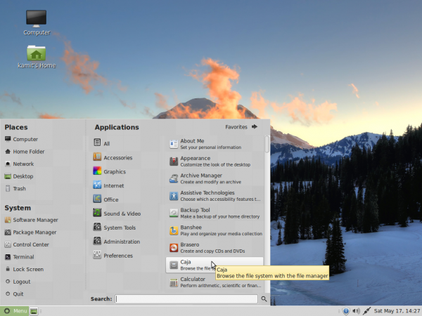 Linux Mint 17 MATE menu