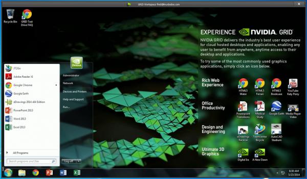 NVIDIA GRID Windows Workspace Start menu