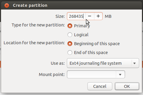 Ubuntu 14.04 partition editor