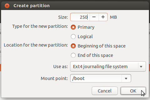 Ubuntu 14.04 boot partition
