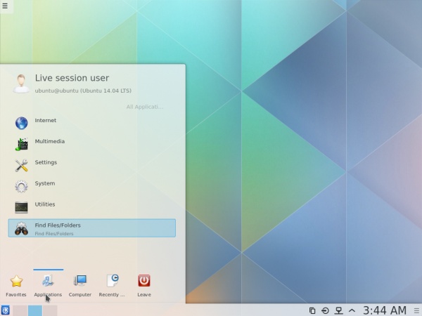 KDE Plasma Next desktop menu