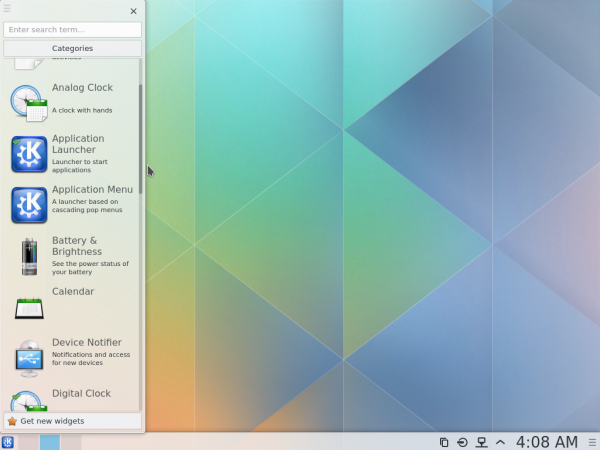 KDE Plasma Next widgets manager