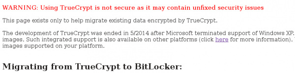 TrueCrypt is discontinued