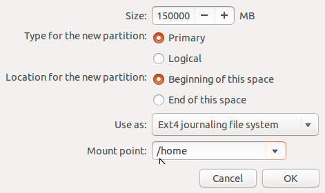 Ubuntu 14.04 create home partition
