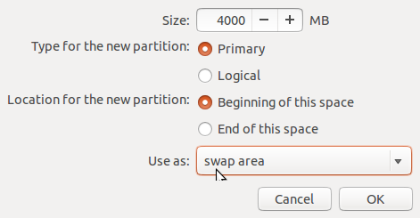 Ubuntu 14.04 create swap partition