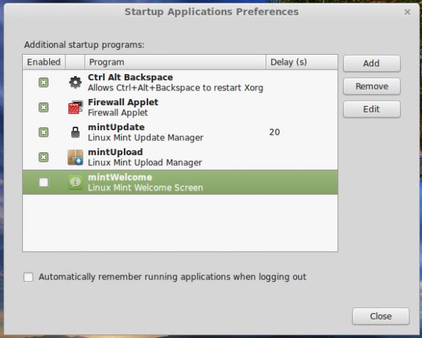 Startup programs Linux Mint 17 Cinnamon