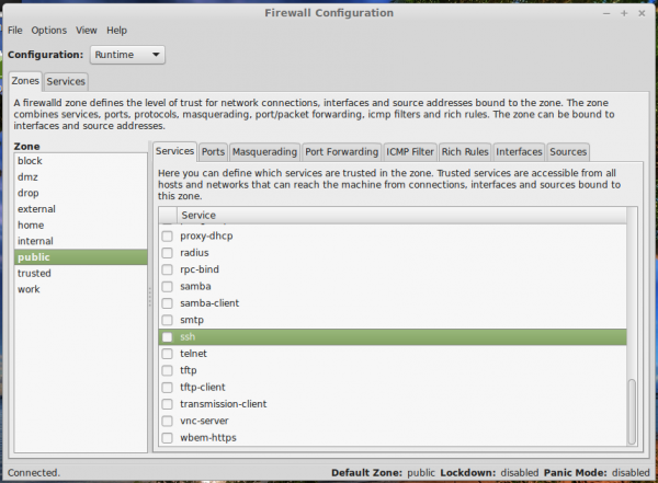 Firewall-config Linux Mint 17 Cinnamon