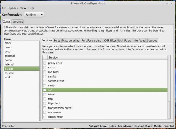 Firewall-config Linux Mint 17 Cinnamon