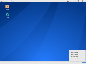 The GNOME Classic desktop on Antergos 2014.05.26 showing the workspace switcher.
