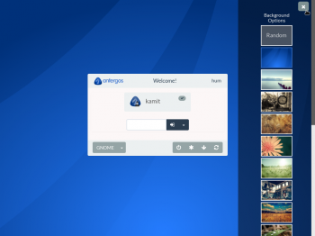 Choice of backgrounds on the login screen of Antergos GNOME 3