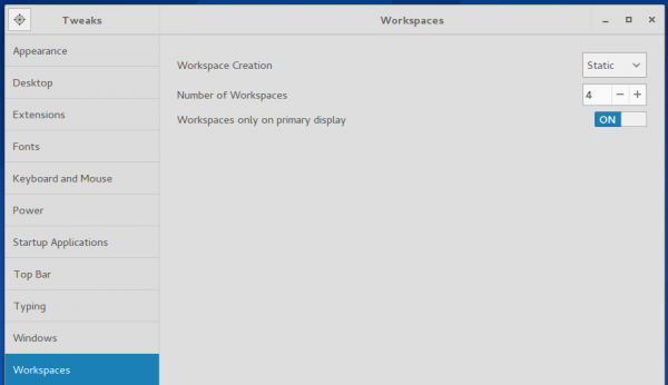 GNOME static workspaces