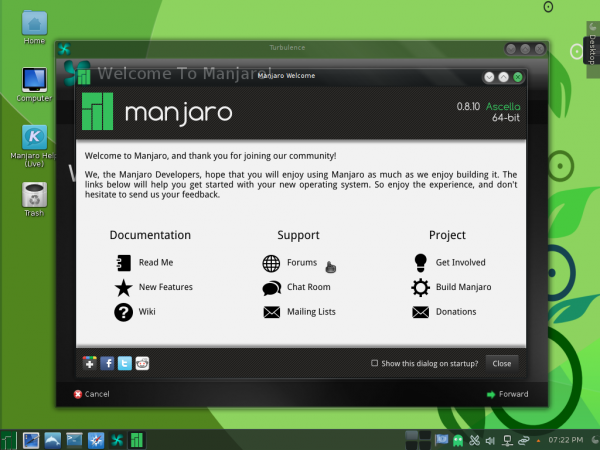 Manjaro 0.8.10 KDE welcome