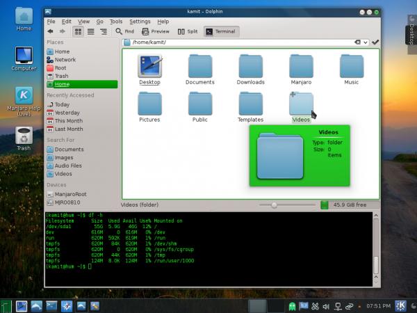 Manjaro 0.8.10 KDE dolphin