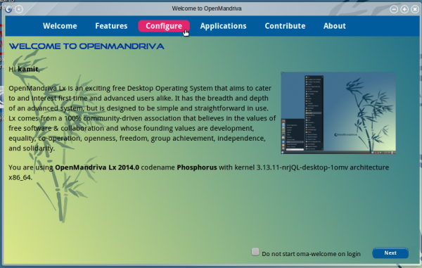 OpenMandriva Lx 2014 om-welcome