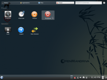 The shutdown or power options on the Power tab of Homerun app launcher on OpenMandriva Lx 2014.