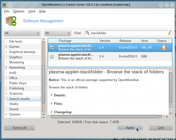 OpenMandriva Lx 2014 app manager