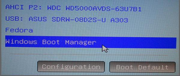 UEFI menu Windows Boot Manager