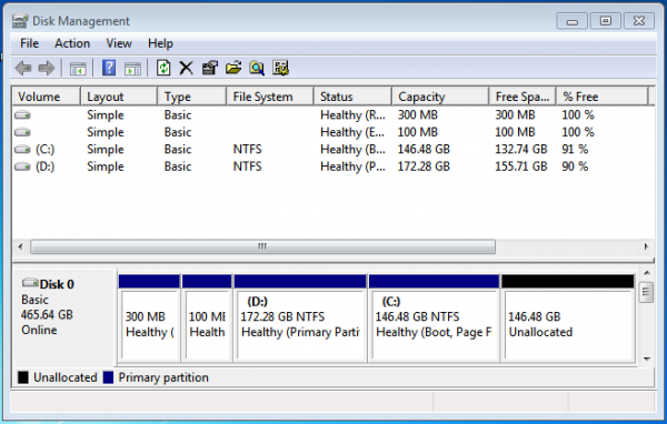 Windows 7 partition shrink volume