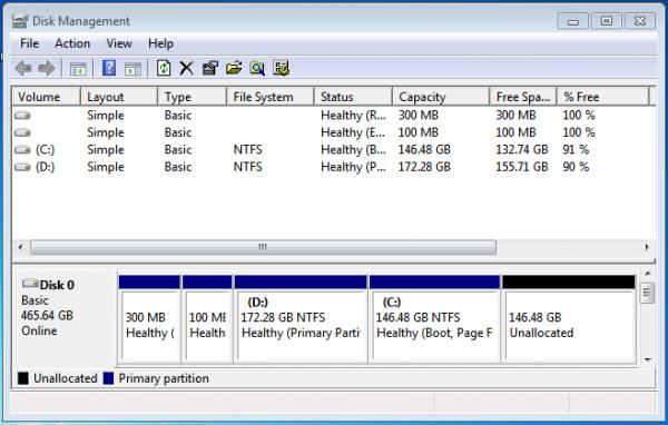Windows 7 partition shrink volume