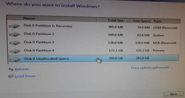 Install Windows 7 partition