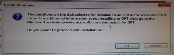 Install Windows 7 GPT partition
