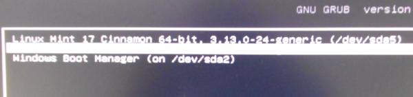 Linux Mint 17 GRUB menu