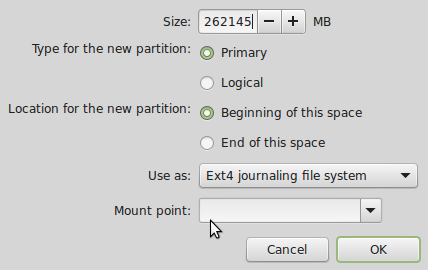 Linux Mint 17 partition editor