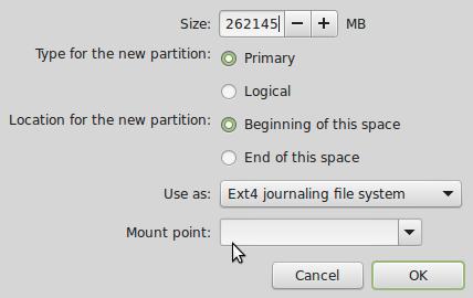 Linux Mint 17 partition editor