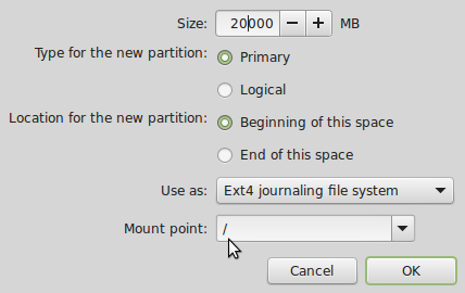 Linux Mint 17 create root partition