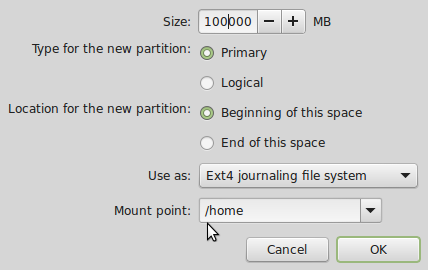 Linux Mint 17 create home partition